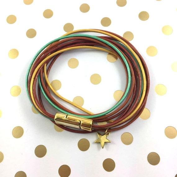 Leather, magnetic, gold magnet, bracelet, brown, mint, gold, star charm, magnet, les perles rares