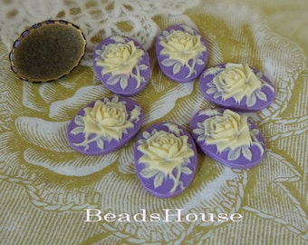 20%off 90s-00-RD-CA  6pcs (13x18mm) Beautiful Oval Rose Cameo - Purple  with Ivory