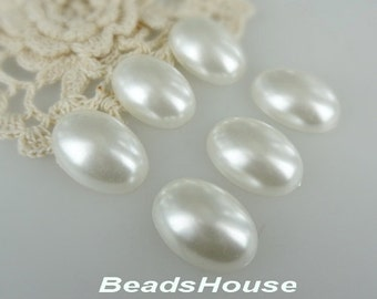 20% OFF - 8pcs (18 x 25mm ) White Oval Pearl Cabochon - White