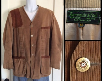 Vintage 1950's Abercrombie and Fitch Corduroy Collarless Hunting Jacket Coat size 46 XL Black Label Remington Peters Bullet Buttons
