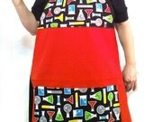 Science Apron Beakers Flasks Mad Scientist Ready to Ship Fandom Apron Kitchen Crafting Barbeque Baking Smock