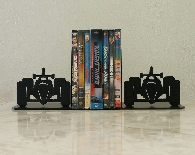 Race Car Indy Metal Art Bookends