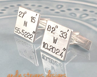 Personalized Cuff Links - Coordinate Jewelry - Gift for Men - Hand Stamped - Sterling Silver - Anniversary Gift - Latitude Longitude GPS