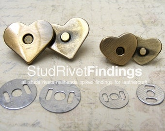10 sets 15x13mm Antique Brass BRUSH HEART Magnetic Snap Closure / thin