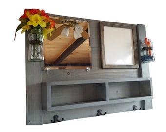 Entryway organizer, mail, mirror, coat rack, whiteboard, chalkboard, corkboard, shelf, reclaimed, pallet wood