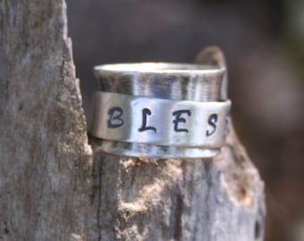Sterling Silver Oxidized Hand Stamped Spinner Boho Ring