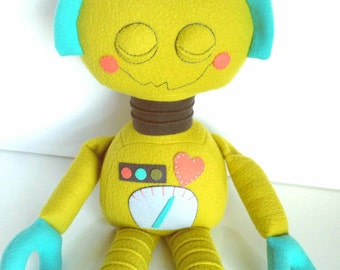SALE - Robot - Kids Toy - Toys - Baby & Toddler - Doll - Stuffed Toy - Citron - Teal - Coral - Charcoal Grey - Ready Made - Plushie