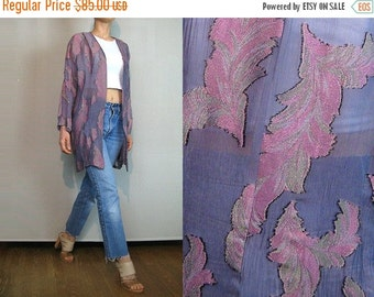 FALL SALE 80s Sheer Lilac GAUZE Feather Print Cardigan Vintage Lavender Feather Jacket Gold Feather Print Jacket Purple Kimono Jacket Sheer
