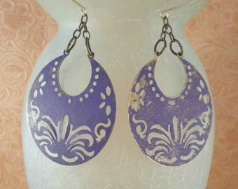 Gypsy Cowgirl Earrings - Brass Crescents with Cut Out Designs - Shabby Purple Finish
