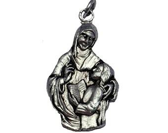 """1 1/4"""" Vintage 1950's Saint Anne Medal, Patron Saint of Mothers, Necklace Pendant"""