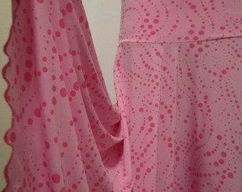 """Ladies POLYESTER SPANDEX PINK Dotted Print Stretch Knit Jersey Maxi Skirt for Missionary, Travel or Leisure, M/L, 36""""long"""
