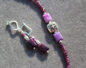 Sugilite Bracelet and/or sugilite earrings on sterling silver with orchid amethyst by EvyDaywear