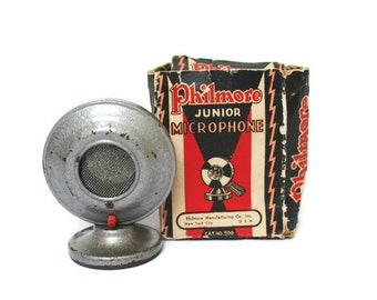 Vintage Microphone in Original Box / Recording Studio Display or Industrial Decor / Child's Junior Microphone by Philmore  / Media Room