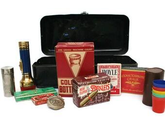 Vintage Supply Lot / Black Tool Box / Guy DIY Bundle / Inspiration Kit / Assemblage or Mixed Media Art / Man Cave Gift