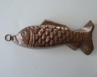 Antique French Copper Fish Mold Hand Hammered Tin Lined,  Not Just Decor