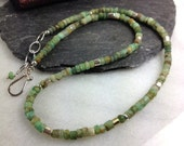 Chrysoprase silver and 18ct gold necklace