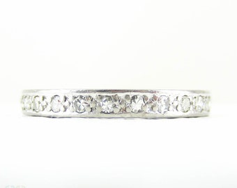 Platinum Art Deco Eternity Ring, Full Hoop Diamond Wedding Ring, Bead Set Diamonds in Platinum. Circa 1920s, Size O / 7.25.