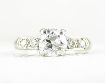 Vintage Diamond Engagement Ring, Old European Cut Diamond in 1940s 14 Carat White Gold Diamond Accented Knife Edge Setting, 0.65 ctw.