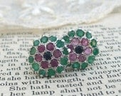 Gemstone Bouquet, Genuine Emeralds, Rubies and Sapphires set in Sterling Silver Stud Earrings by  Hollywood Hillbilly