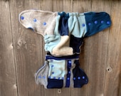Upcycled Wool Nappy Cover Diaper Wrap Cloth Diaper Cover One Size Fits Most Gray/ Blue Patchwork Scrappy/ Blue