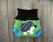Upcycled Wool Soaker Cover Diaper Cover With Added Doubler Green/ Black/ Turquoise With Hedgehog Applique NEWBORN 0-3M Kidsgogreen