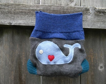 Upcycled Merino Wool Soaker Cover Diaper Cover With Added Doubler Gray/ Blue/ Teal  With Whale Applique NEWBORN 0-3M Kidsgogreen