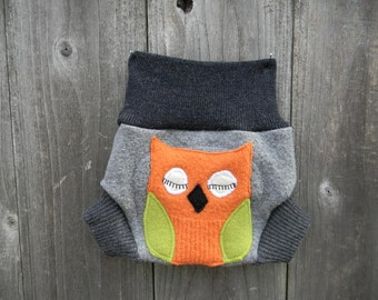 Upcycled Wool  Soaker Cover Diaper Cover With Added Doubler Gray  With Owl Applique NEWBORN 0-3M Kidsgogreen
