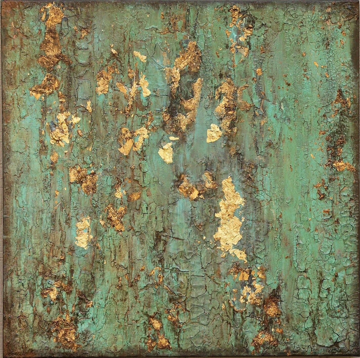 Sold textured gold leaf turquoise painting original rustic for Texture painting on canvas