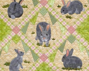 Quilt Pattern, Rabbit Tracks, Spring Decor, Easter Decor, Bunny Wall Hanging, Crib Quilt, Applique Quilt, Pieced Quilt, PATTERN ONLY
