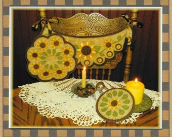 Wool Applique Pattern, Prim Sunflowers, Chair Swag, Candle Mat, Penny Rug, Primitive Decor, Fall Decor, Penny Lane Primitives, PATTERN ONLY