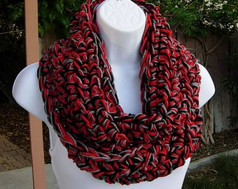 Crochet INFINITY SCARF, Red Gray Grey Black Winter Cowl, Bulky Loop Scarf, Chunky Knit Circle Scarf Thick Acrylic Neck Warmer..Ready to Ship