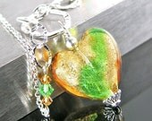 Murano Glass Topaz Peridot Heart Necklace Sterling Silver Chain Necklace Amber Green 24k Gold Heart Pendant Necklace Valentines Jewelry