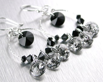 Clear Black Crystal Earrings Sterling Silver Hoop Earrings Swarovski Crystal Black Earrings Black Hoops Silver Earrings Dainty Jewelry