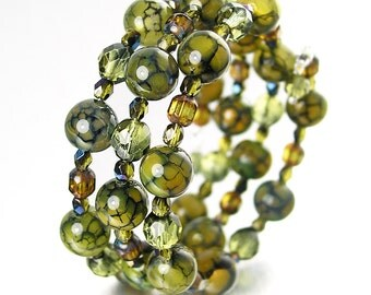 Olive Green Beaded Bracelet Multi Strand Green Wrap Bracelet Bohemian Glass Memory Wire Moss Green Agate Gemstone Bracelet  Boho Jewelry