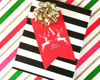 Personalized Gift Tag, Letterpress Foil Printed Set of Gift Tags, Prancing Reindeer Gift Tag for Gifts, Holidays, Weddings and More