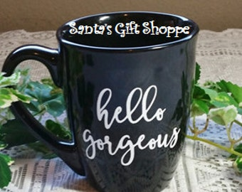 hello gorgeous - hello handsome - Wedding - Bride & Groom - Vinyl Decals - MUGS NOT INCLUDED