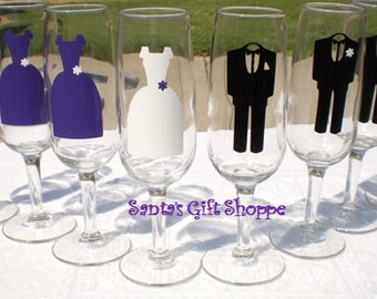 8 Bride/Bridesmaids/Groom/Groomsmen - Decals for Glasses - Bridal Party - 8 Vinyl Decals - GLASSES NOT INCLUDED - Wedding Gown - Tuxes