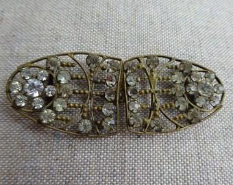Ornate Antique Art Nouveau Brass and Rhinestone Paste Belt Buckle