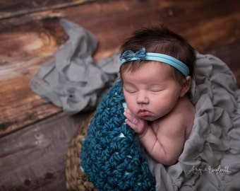 Chunky Thunder Blue Cozy Newborn Baby Blanket Photo Prop