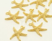 PD-1146-GD / 6 Pcs - Shiny Sea Star Starfish Charm Pendant, 16K Gold Plated over Pewter / 14mm x 16mm