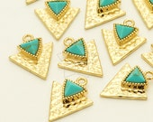 PD-1221-GD / 2 Pcs - Gemstone Tri-Force Pendant, Turquoise Gemstone with 16k Gold Plated over Brassl / 11mm x 14mm