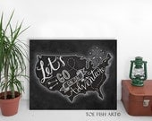 Let's Go On An ADVENTURE - Chalkboard Art - Chalk Art Print on Wood- Hand Lettered - Travel Art USA Map -Typography Word Art Wall Decor Sign