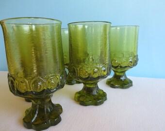 Vintage Tiffin Franciscan Madeira Water/Wine Goblets - Citron Green - Avocado Green Stem Glasses - Set of 8