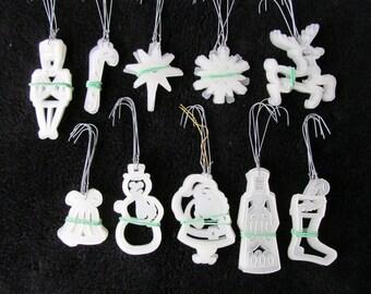 Vintage Christmas Ornaments Glow in the Dark Tiawan Lot of 50 Plastic Santa Stocking Reindeer Snowflake Star Bell Snowman