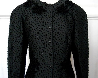 80s Vintage Black Velvet Polka Dot Formal Bolero Jacket Size 38 / M