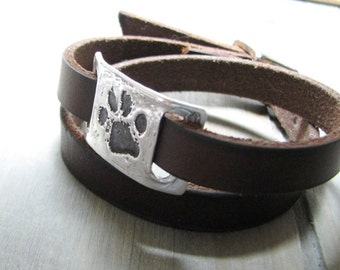 Pawprint with Leather Wrap Bracelet, Personalized Fine Silver Link with Engraving, Handmade with Recycled Silver