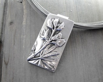 Rising, Fine Silver Flower Pendant, Natural Plant Reproduction, Wildflowers, Handmade by SilverWishes