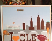 Cleveland Browns greeting card, Cleveland skyline football card, CLE card, Dawg Pound football notecard