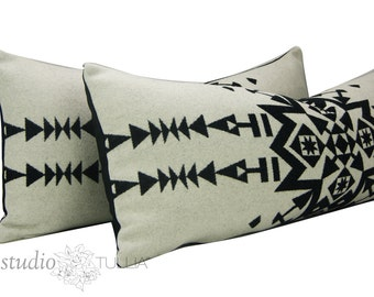 Black and white pillow covers - Set of TWO  - Made with Pendleton® wool - lumbar - 14x32 - Made in Oregon - Native American - ready to ship