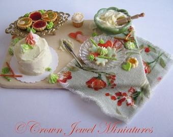 1:12 Downton Abbey Birthday Cake Preparation Board by IGMA Artisan Robin Brady-Boxwell - Crown Jewel Miniatures